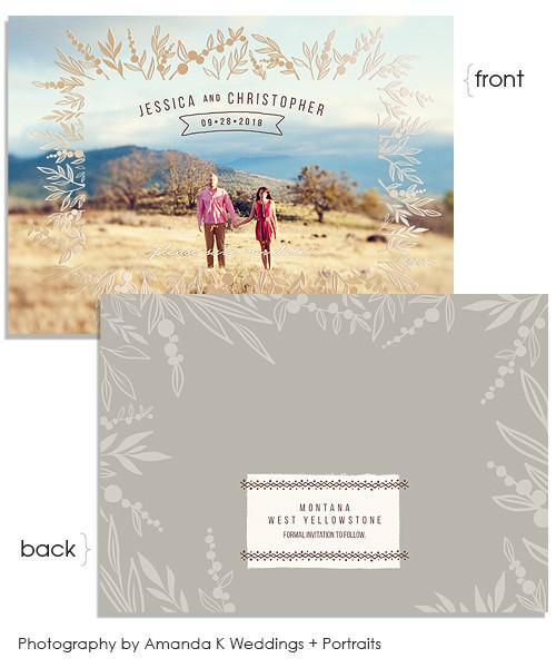 Over the Fields 7x5 Prairie Flower Border Foil Press Card