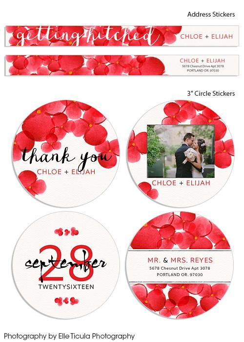 Red Watercolor Blooms Bundle