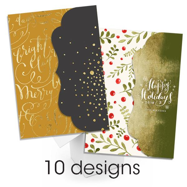 Hand Lettered Flurries Folded Luxe Card Collection