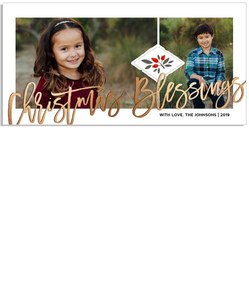 Bright Christmas Blessings 8x4 Flat Card, Address Label and Circle Sticker