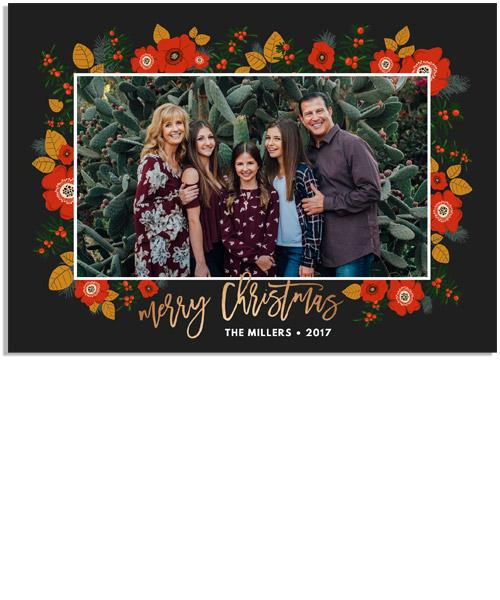 Christmas Floral 7x5 Flat Card, Address Label and Circle Sticker