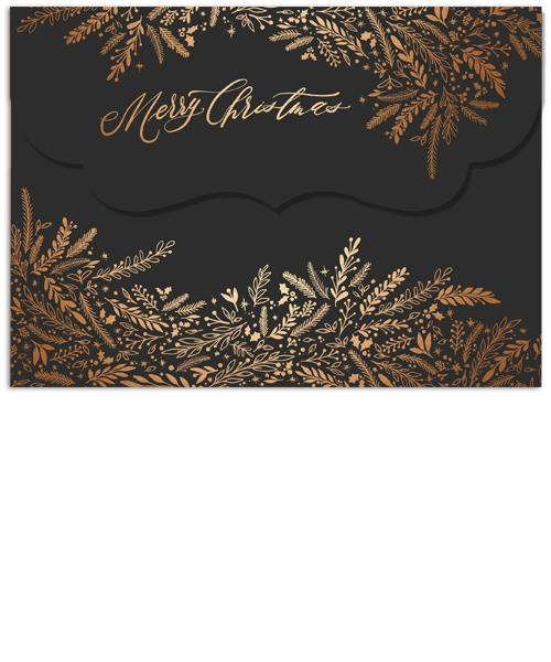 Golden Christmas Collage 7x5 Top Folded Luxe Card, Address Label and Circle Sticker