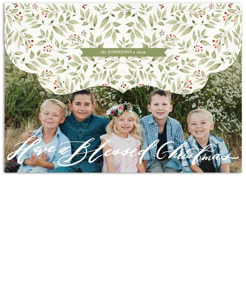 Golden Holiday Collage 7x5 Top Folded Luxe Card, Address Label and Circle Sticker