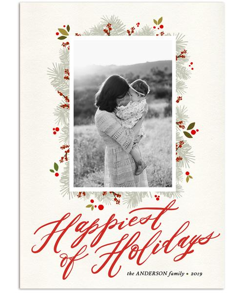 Happiest of Holidays 5x7 Flat Card, Address Label and Circle Sticker