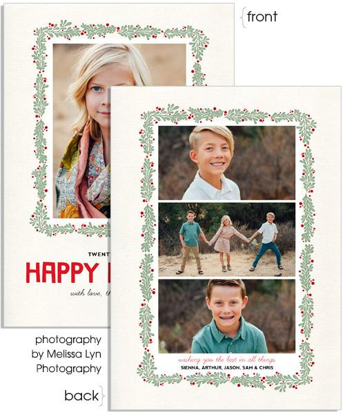 Holiday Foliage 5x7 Flat Card, Address Label and Circle Sticker