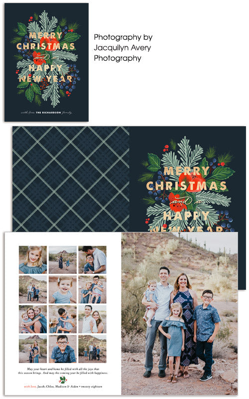 Insta Style Holidays 5x7 Folded Card, Address Label and Circle Sticker