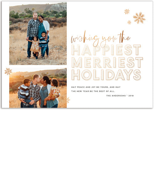 Merriest Happiest 7x5 Flat Card, Address Label and Circle Sticker