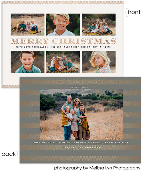 Merry Stripes 7x5 Flat Card, Address Label and Circle Sticker