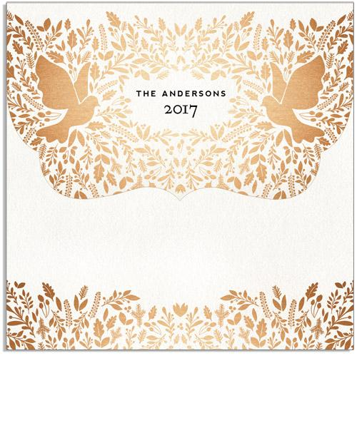 Peaceful Doves 5x5 Top Folded Luxe Card, Address Label and Sticker