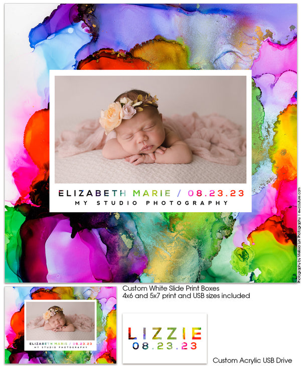 Rainbow Baby Acrylic Print Box and USB