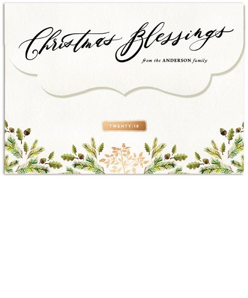 Rustic Elegance Collage 7x5 Top Folded Luxe Card, Address Label and Circle Sticker