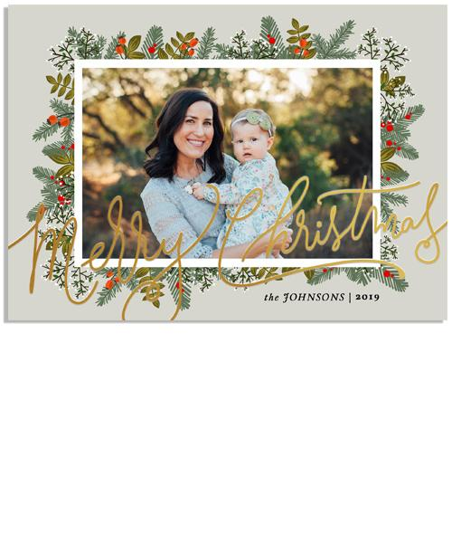 Snowy Christmas Greens 7x5 Christmas Scrawl Foil Press Card, Address Label and Circle Sticker