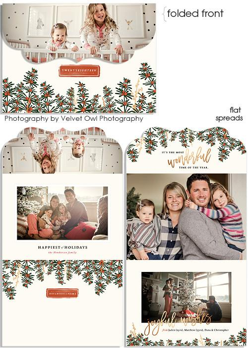 Snowy Hillsides 7x5 Top Folded Luxe Card, Address Label and 3x3 Ornate Sticker