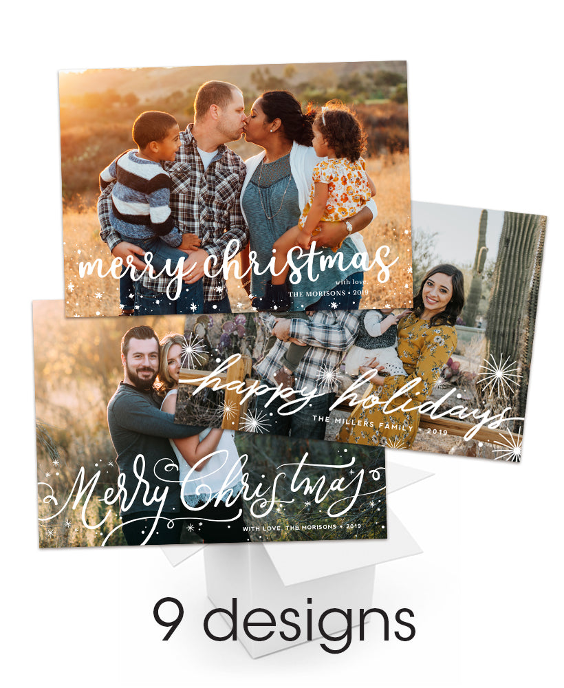 Tidings of Peace and Joy Overlay 5x7 flat Cards Bundle - Miller's Lab Personalized Foil Friendly Collection
