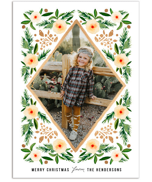Winter Blooms 5x7 Flat Card, Address Label and Circle Sticker