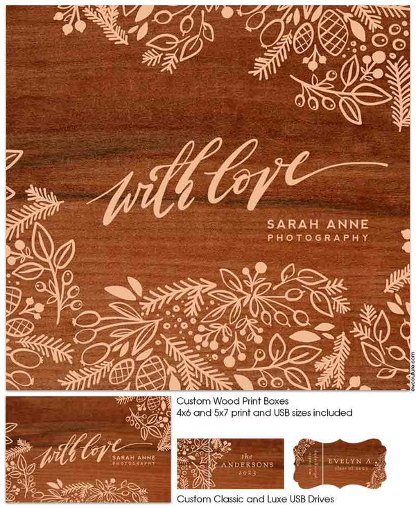 With Love Wood Print Boxes and USBs