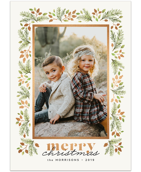Wispy Botanical Christmas ONE 7x5 flat card