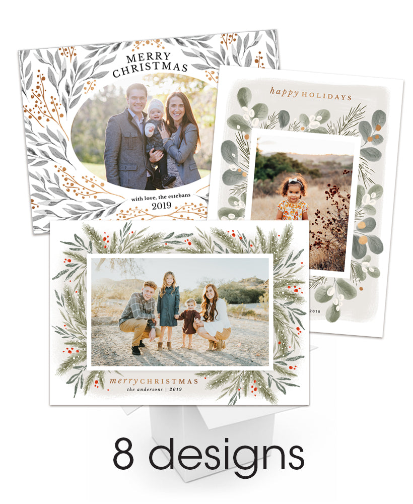Wispy Botanical Christmas 7x5 flat cards Collection