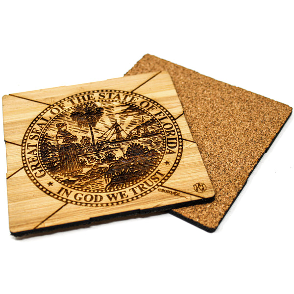 Coaster Set - Bamboo w/ cork backing - Florida State Flag