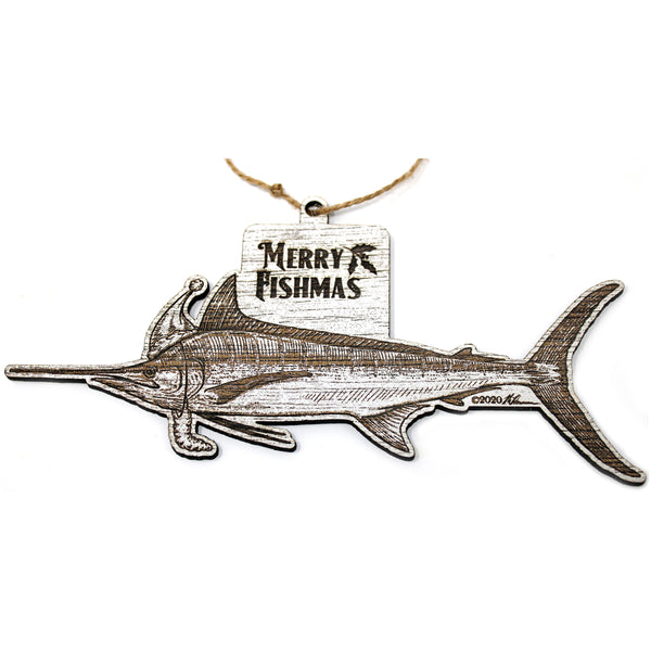 Wood Christmas Ornaments - Marlin Fishmas Ornaments