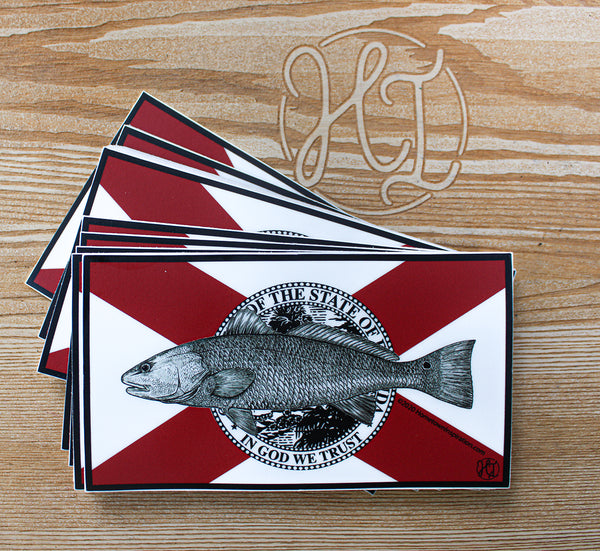 Vinyl Sticker - FL Flag Redfish