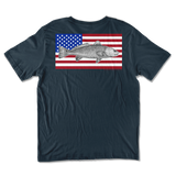Classic Short Sleeve Tee - American Flag Redfish back print tee