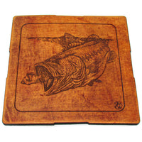 Coasters Set - Leather - Bass Fishing