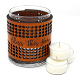 Leather Luminary Candle Set - Arched Circles - Bless This Home
