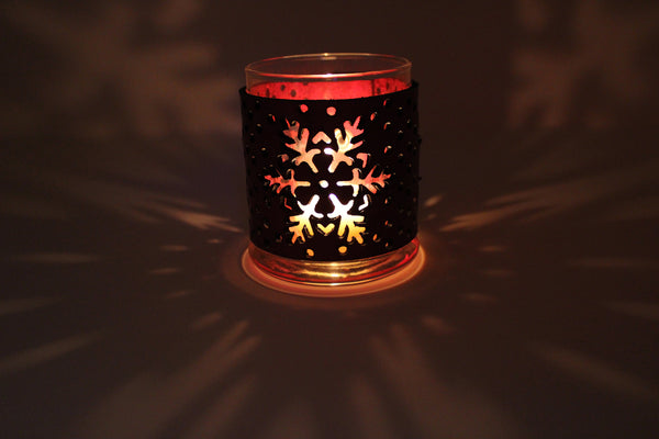 Leather Luminary Candle Set - Snowflakes