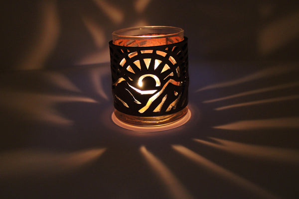 Leather Luminary Candle Set - Mountain Sun