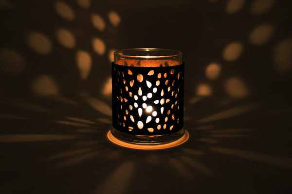 Leather Luminary Candle Set - Starry Night