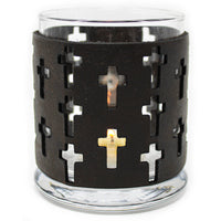 Leather Luminary Candle Set - Crosses