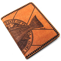Hand Stitched Leather Wallet - Redfish FL Flag
