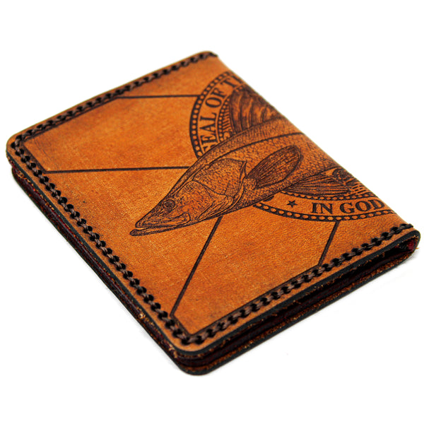 Hand Stitched Leather Wallet - Snook FL Flag