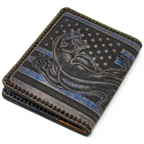 Hand Stitched Leather Wallet - Black Panther Tattoo American Flag
