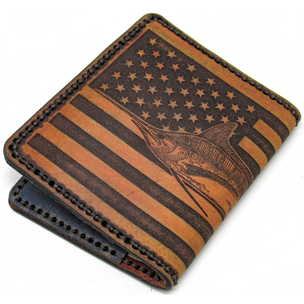Hand stitched Marlin American Flag Leather Wallet