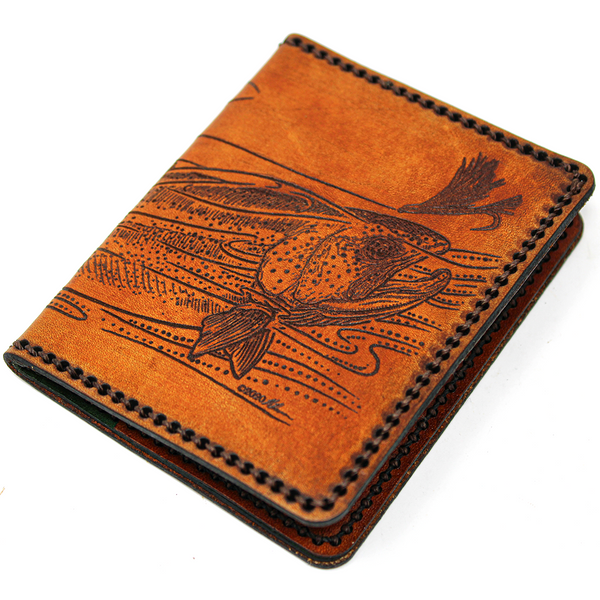 Hand Stitched Leather Wallet - Rainbow Trout