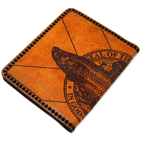 Hand Stitched Leather Wallet - Tarpon FL Flag