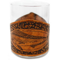 Whiskey Glass Leather Wrap - Offshore Engraver Set