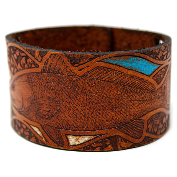 Men's Leather Wristband - Redfish Fancy Pants