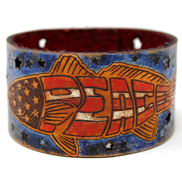 Men's Leather Wristband - Redfish Peace