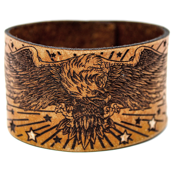 Men's Leather Wristband - Freedom Eagle