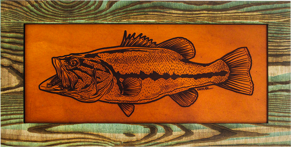 Wall Art Decor - Leather and Wood Bass Art