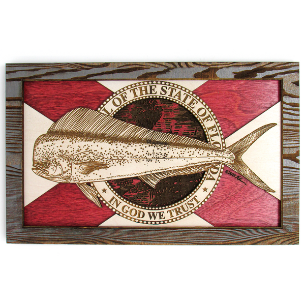 Wall Art - Mahi Florida Flag 3D Wood Art