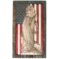 Wall Art - Jumping Tarpon American Flag 3D Wood Art