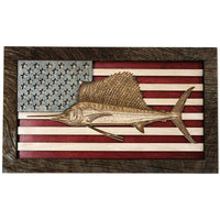 Wall Art - Sailfish American Flag 3D Wood Art