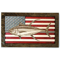 Wall Art - Yellowfin American Flag 3D Wood Art