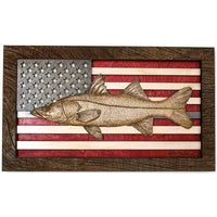 Wall Art - Snook American Flag 3D Wood Art