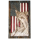 Wall Art - Jumping Marlin American Flag 3D Wood Art