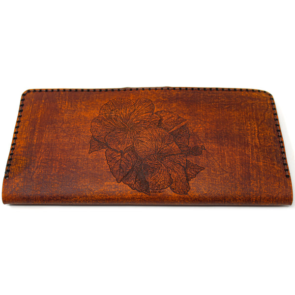 Women's Long Hand Stitched Wallet - Hibiscus